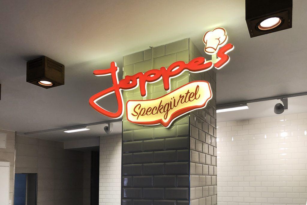 Werbetechnik Fleischerei Joppe, Fassadenwerbung, Logo, Lichtwerbung